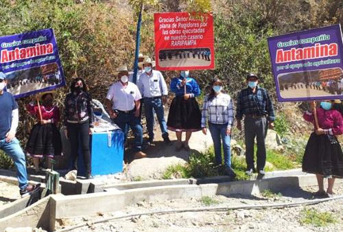 Antamina: Entregan proyectos de infraestructura de riego ejecutados en el distrito de Pararín